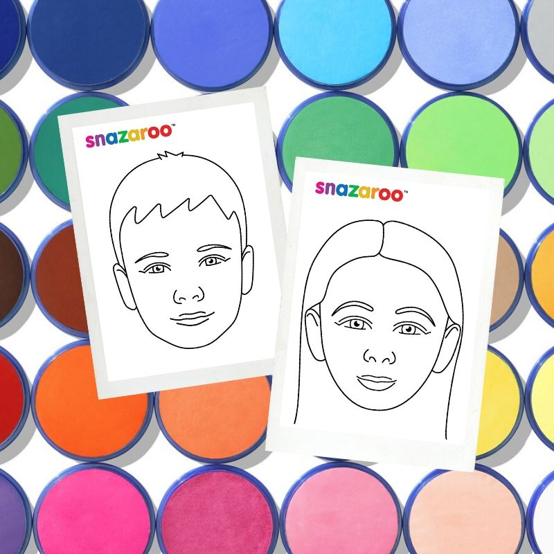 Snazaroo girl and boy face charts