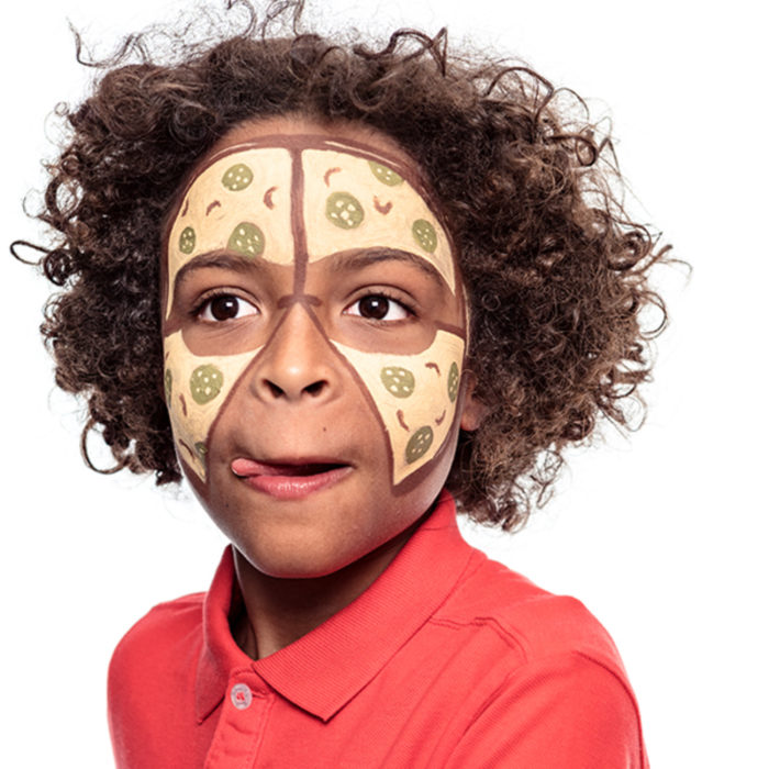 boy with Pizza Peter face paint design