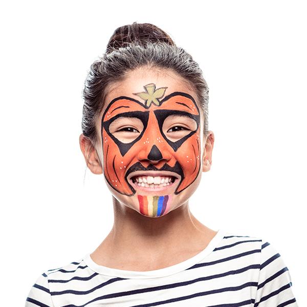 girl with Colourful Rainbow Pumpkin Halloween face paint design