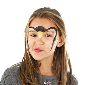 girl with step 1 of Penguin face paint design