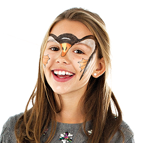 girl with Penguin face paint design