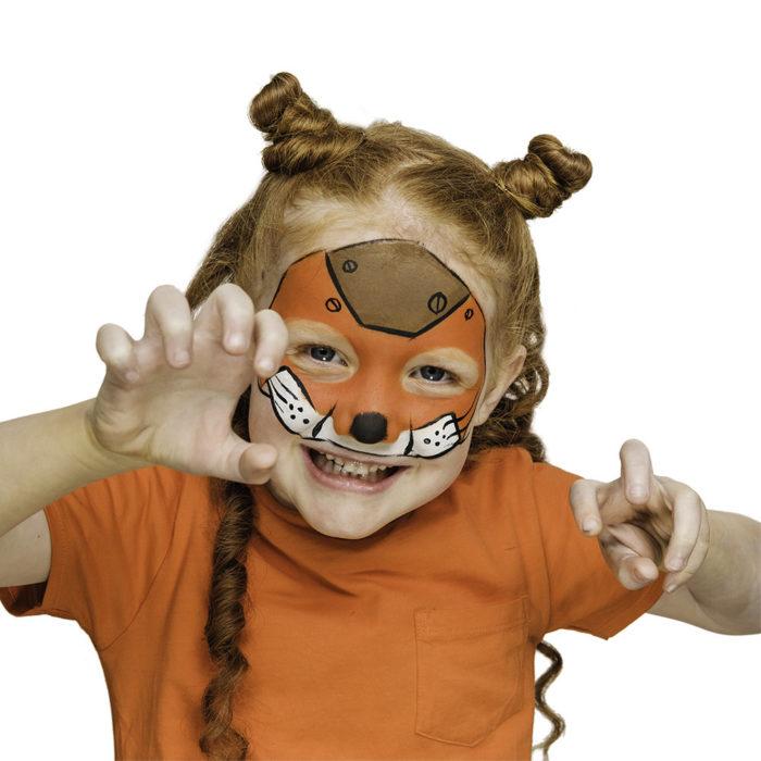 girl with Robo Fox face paint design for Halloween