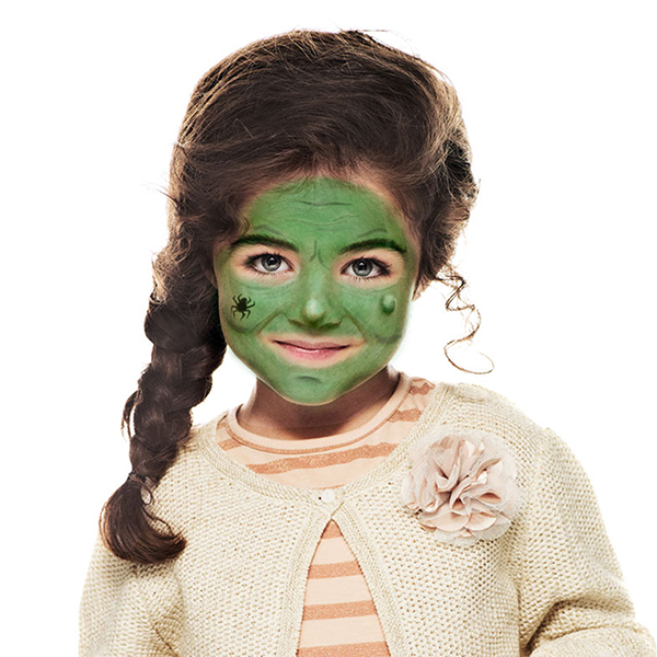 girl with Green Witch face paint design