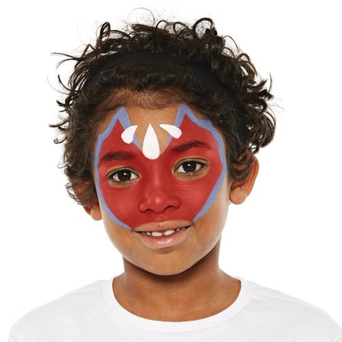 Boy with step 2 of Dragon face paint design