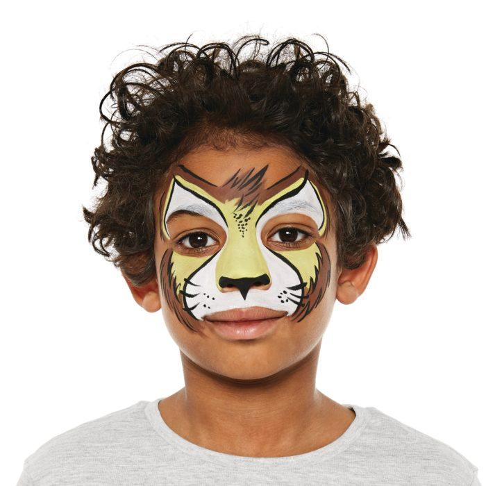 boy with Lion face paint design