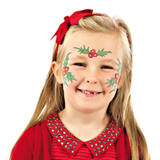 Girl with Holly face paint design