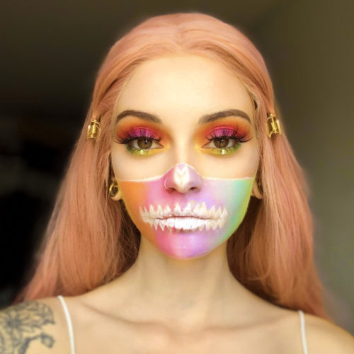 girl with step 2 of Glam Skull face paint design