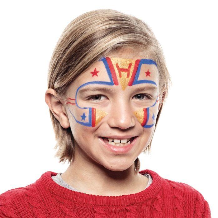 Boy with Superhero face paint design