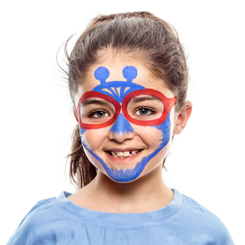 girl with step 2 of Alien Hero face paint design