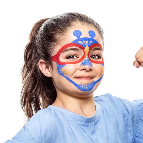 girl with Alien Hero face paint design