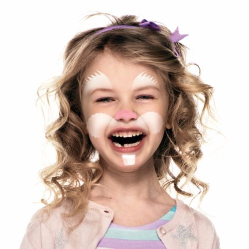 Girl with step 2 of Bunny face paint design