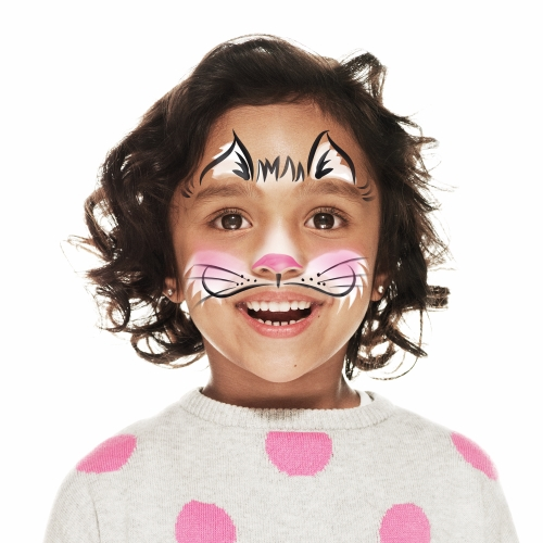 Girl with cat face paint design