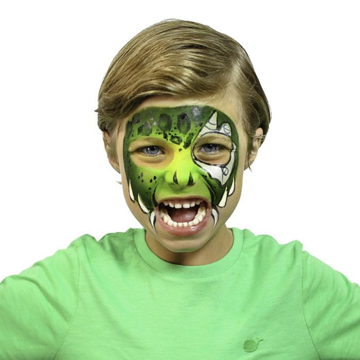 Boy with Cyber Raptor Halloween face paint idea