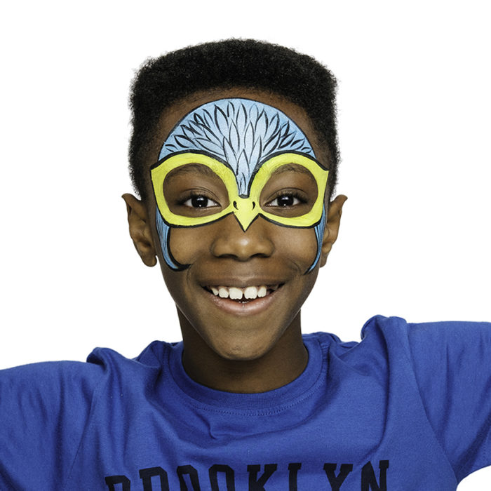 Boy with Falcon Wing face paint design