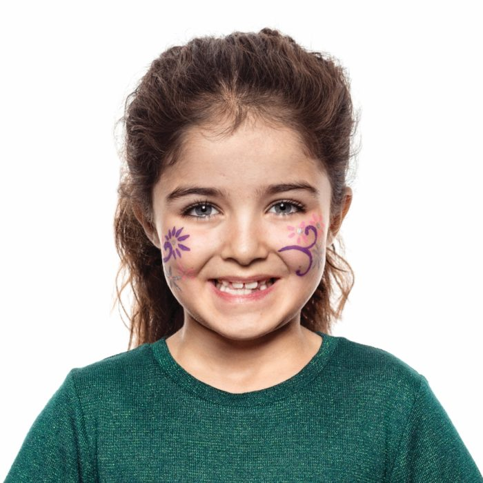 girl with Flowers face paint design