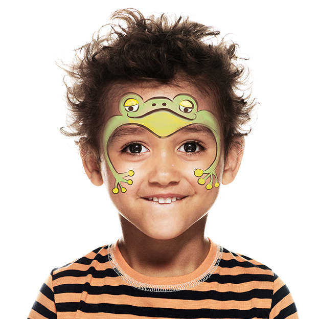 boy with frog face paint design
