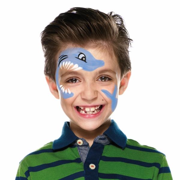 Boy with Shark face paint design