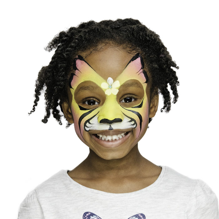 girl with Tiger Fairy face paint design