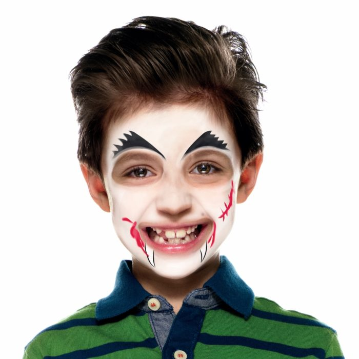 Boy with Vampire face paint design
