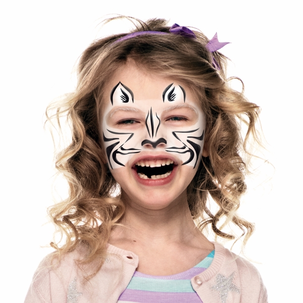 girl with Zebra face paint design