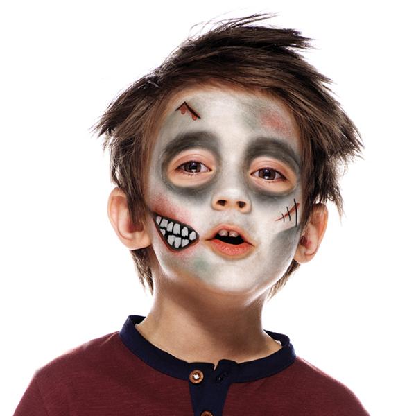 Boy with Zombie face paint design