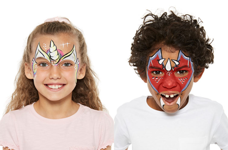 Two kids faces painted with Unicorn and Dragon Snazaroo Guide designs