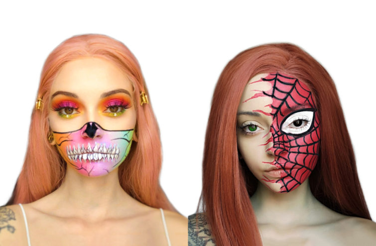 Two adults faces painted with Glam Skull and Spiderman Snazaroo Guide designs