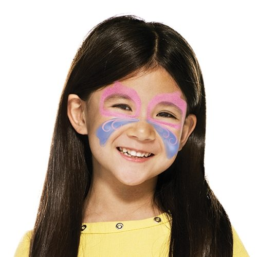 girl with step 1 of Easter Butterfly face paint design