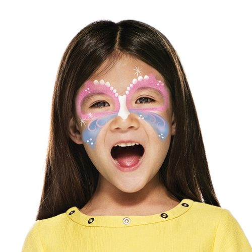 girl with step 2 of Easter Butterfly face paint design