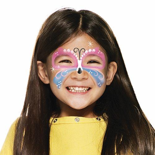 girl with Easter Butterfly face paint design