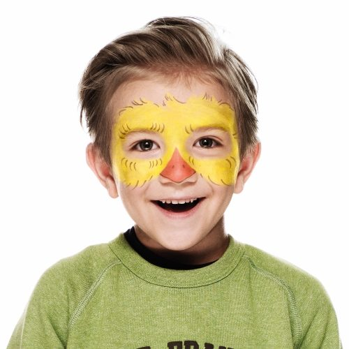 boy with step 2 of Chick face paint design