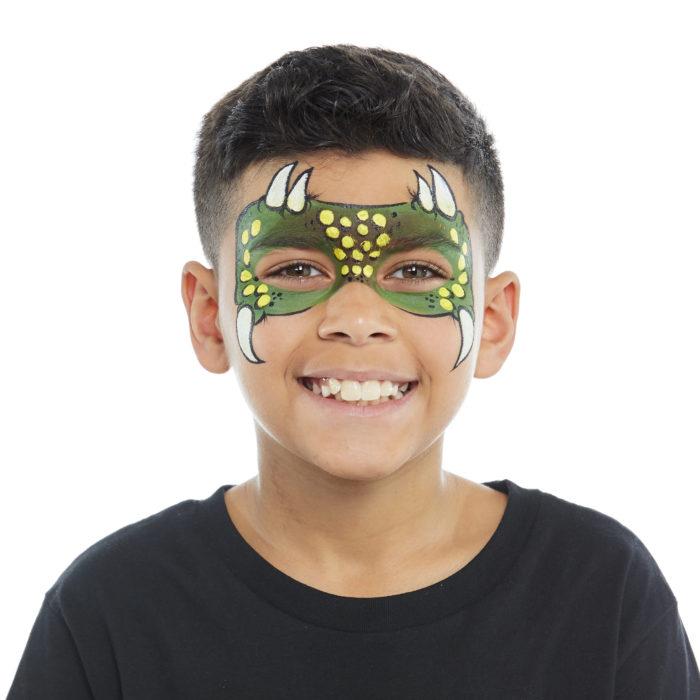 Boy with Dinosaur face paint design