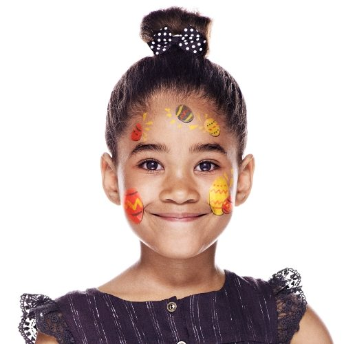 girl with Easter Egg face paint design