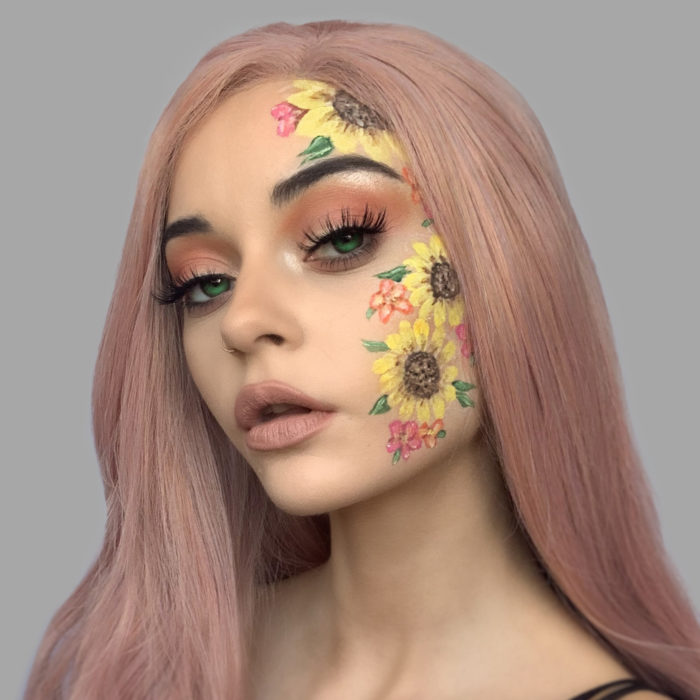 girl with Sunflowers face paint design