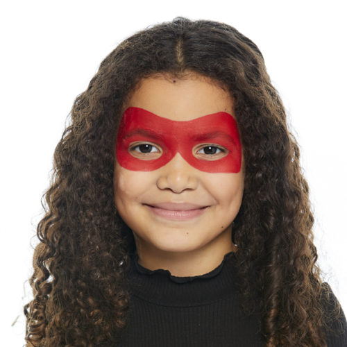 girl with step 1 of Ladybird face paint design