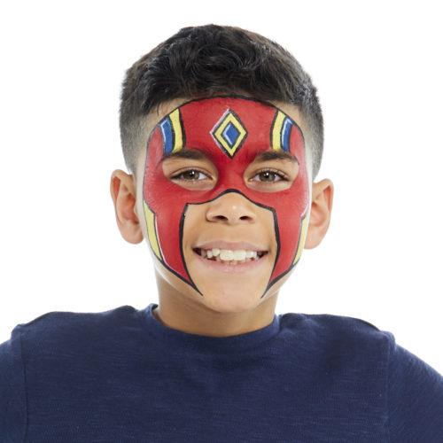 Boy with Super Warrior face paint design