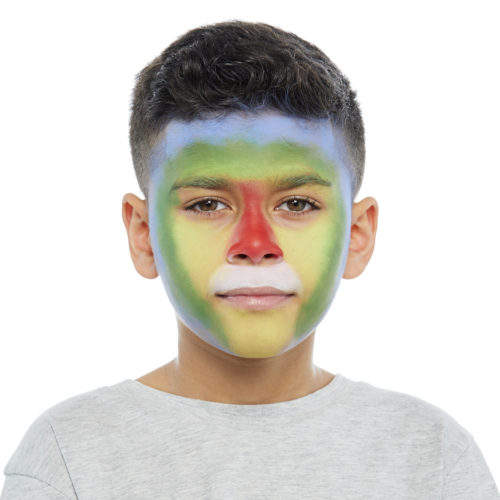 Boy with step 1 of Rainbow Tiger face paint design