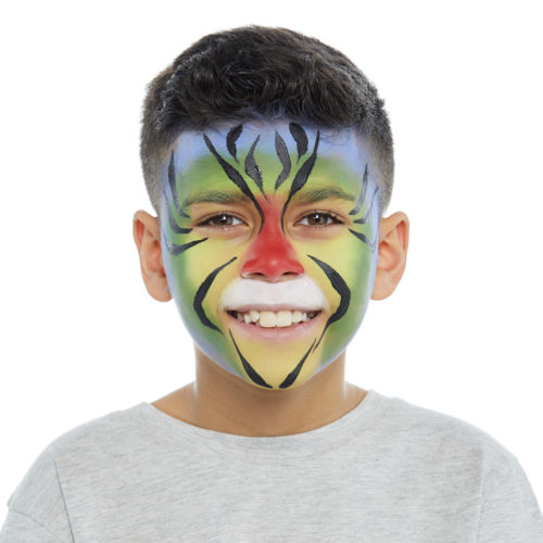 Boy with step 2 of Rainbow Tiger face paint design
