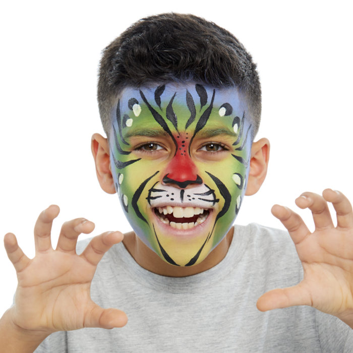 Boy with Rainbow Tiger face paint design