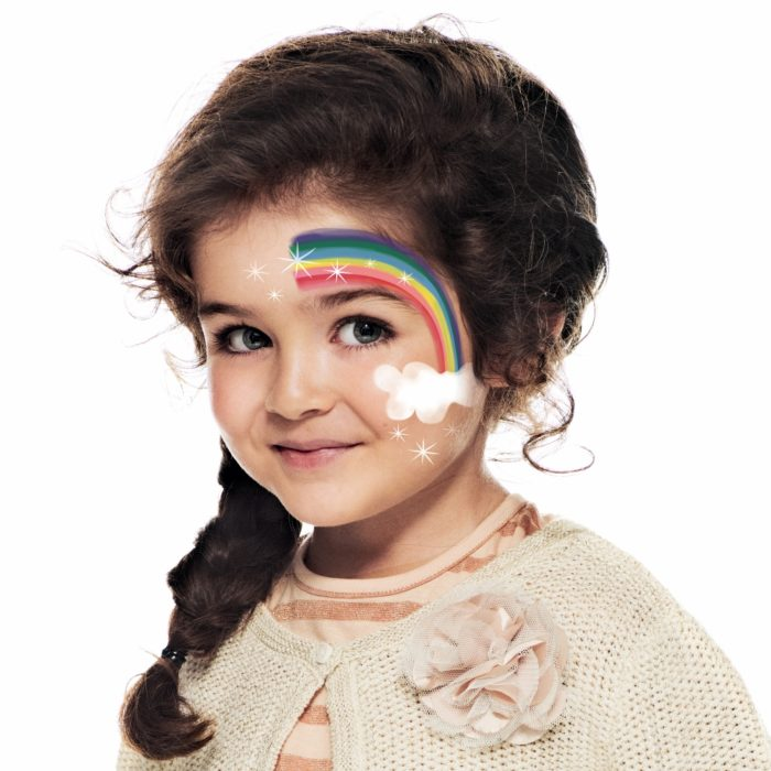 girl with step 2 of Rainbow face paint design