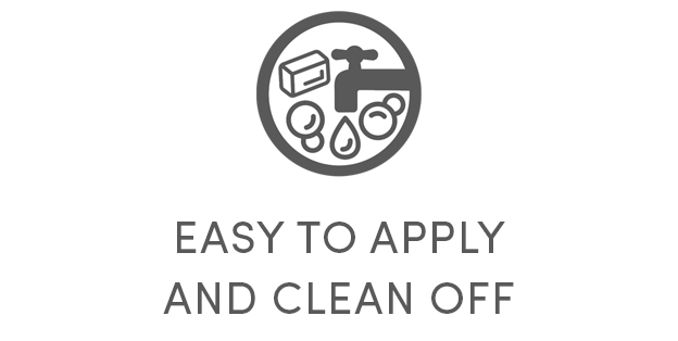 easy to apply and clean off icon