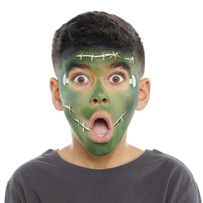 Boy with Frankenstein face paint design for Halloween