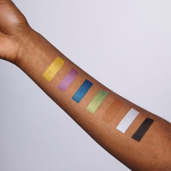 Metallics face paint arm swatches