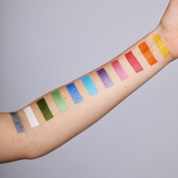 Sparkles face paint arm swatches