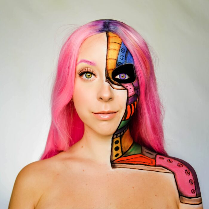 woman with step 3 robot face paint design tutorial