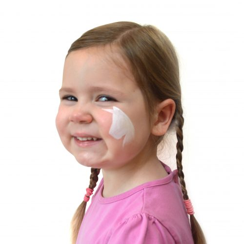 Girl with kids unicorn face paint. Step 1 of a 3 step guide.
