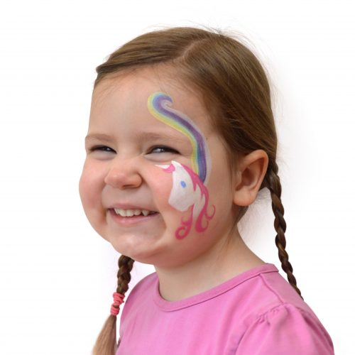 Girl with kids unicorn face paint. Step 2 of a 3 step guide.