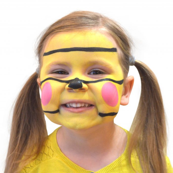 Girl with simple kids bee face paint. Step 3 of 3