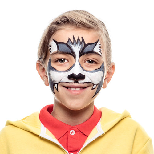 Boy with step 2 of Cat Zombie Halloween Costume face paint design