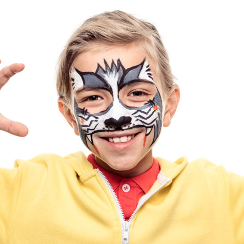 Boy with Cat Zombie Halloween Costume face paint design